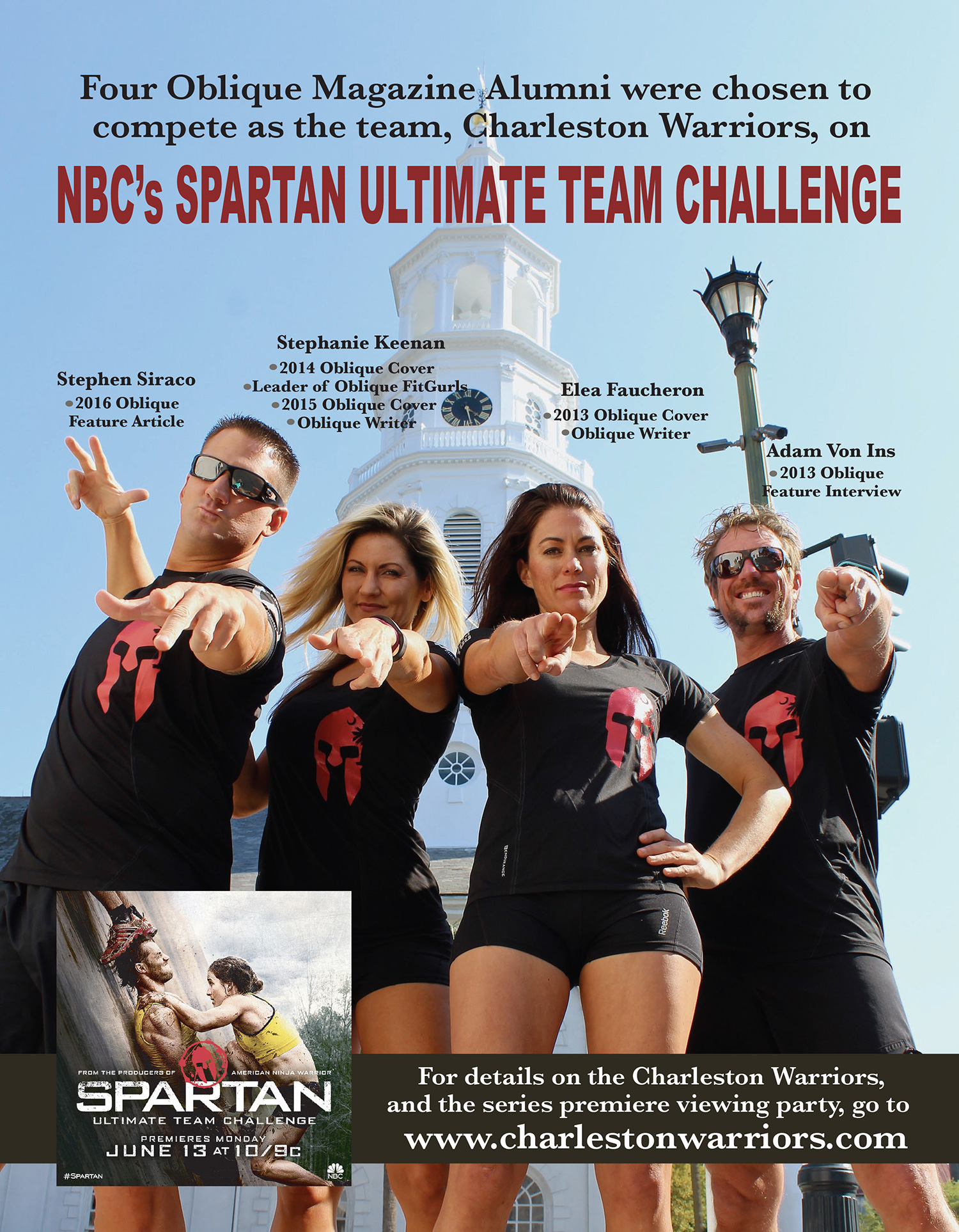 4 oblique magazine alumni team together in NBC Spartan Ultimate Team Challenge including Adam Von Ins, Elea Faucheron, Stephen Siraco and Stephanie Keenan